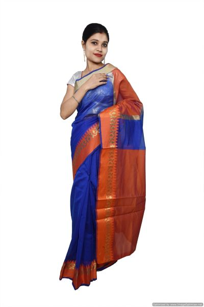 Blue Banarsi Cotton Silk Saree with Running Blouse Fabric BS34