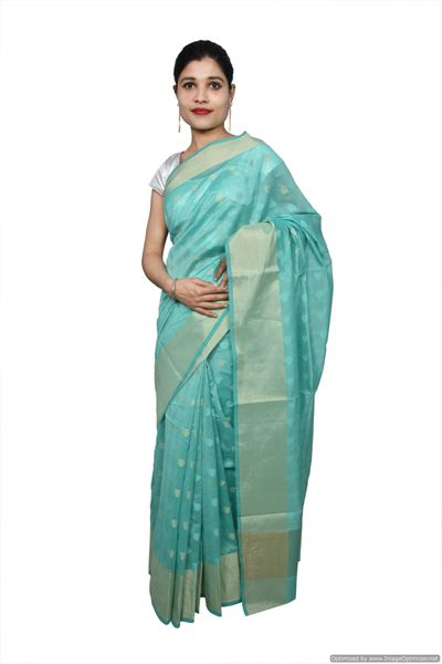 Turquoise Banarsi Cotton Silk Saree with Running Blouse Fabric BS32