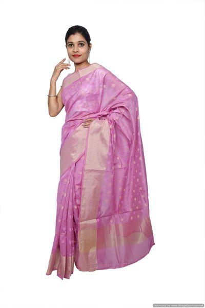 Mauve Banarsi Cotton Silk Saree with Running Blouse Fabric BS29