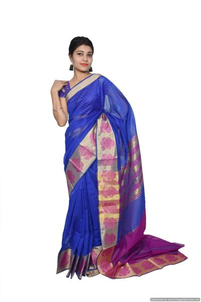 Blue Banarsi Cotton Silk Saree with Running Blouse Fabric BS26