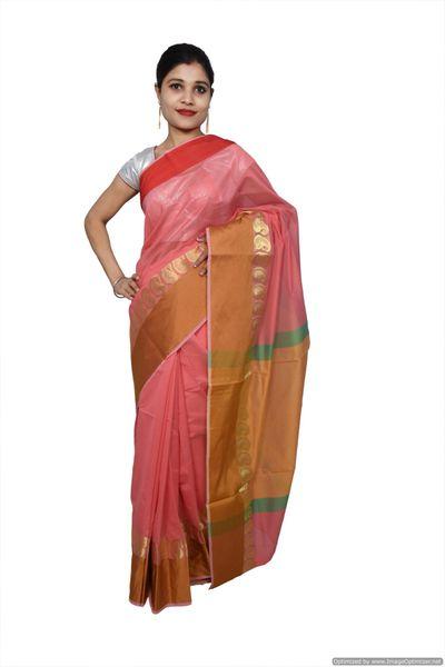 Pink Banarsi Cotton Silk Saree with Running Blouse Fabric BS25