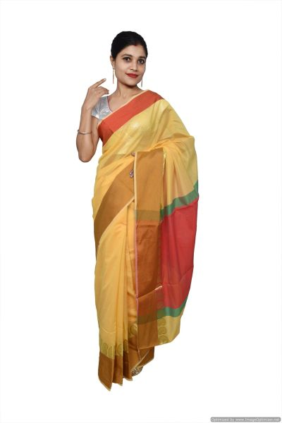 Yellow Banarsi Cotton Silk Saree with Running Blouse Fabric BS23