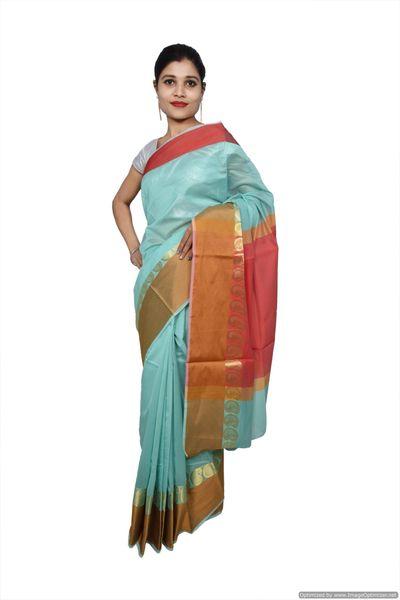 Green Banarsi Cotton Silk Saree with Running Blouse Fabric BS22