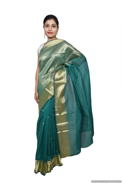 Turquoise Banarsi Cotton Silk Saree with Running Blouse Fabric BS20