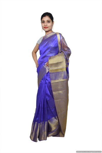 Blue Banglore Saree with Running Blouse Fabric BS11
