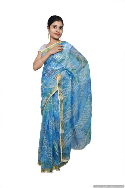 Designer Blue Zari Weaven Kota Shibori Saree