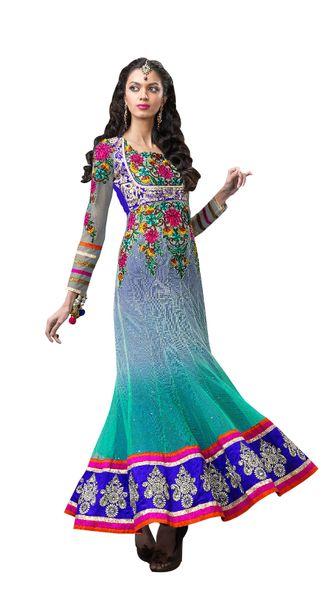 Anvi Creations Turquoise Blue Net Anarkali Dress Material