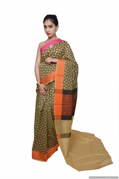 Designer Yellow Printed Weaven Palla Kota Cotton Saree KCS116