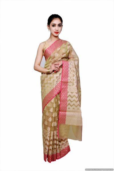 Designer Exclusive Deep Beige Pink Border Kota Weaven Saree KCS109