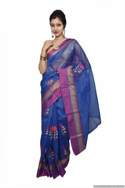 Designer Blue Kota Cotton Embroidered Saree KCS100