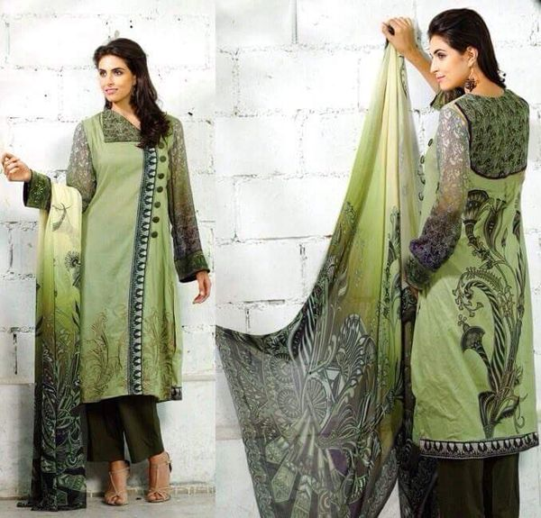 Designer Pakistani Replica Green French Crepe Printed Dress Material SUR3