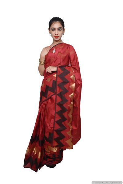 Designer Maroon Jequard Cotton Silk with Zari Stripes Saree JS96