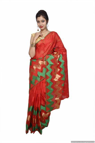 Designer Red Jequard Cotton Silk with Zari Stripes Saree JS89