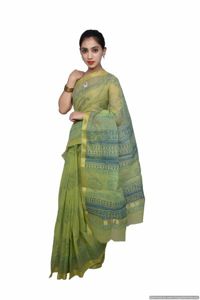 Designer Light Green Gold Border Kota Cotton Printed Saree KCS80
