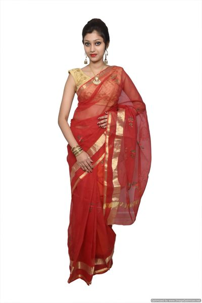 Designer Red Kota Cotton Embroidered Saree KCS68