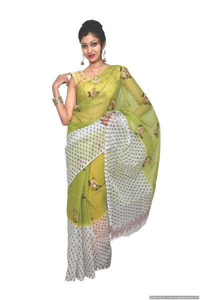 Designer Green Kota Cotton Embroidered Saree KCS66