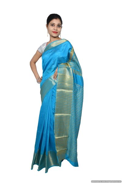 Firozi Turquoise Banglore Saree with Running Blouse Fabric BGS14