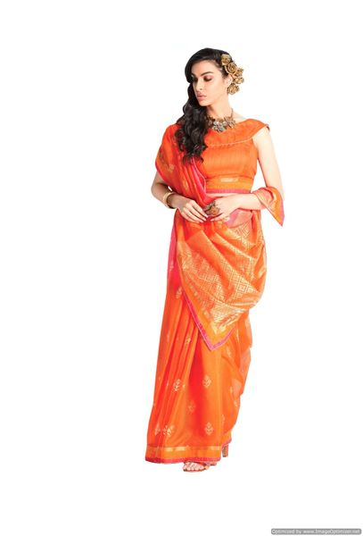 Designer Orange Handloom Silk Light Embellished Saree SCMIS19