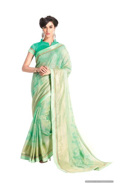 Designer Green Handloom Silk Light Embellished Saree SCMIS18