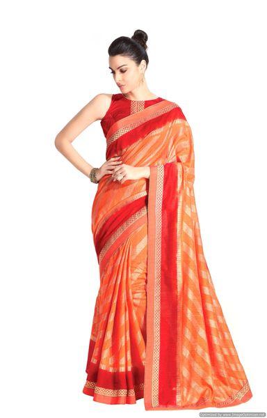 Designer Orange Handloom Silk Light Embellished Saree SCMIS12