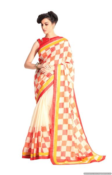 Designer Off White Handloom Silk Light Embellished Saree SCMIS09