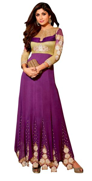Shilpa Shetty Exclusive Purple Anarkali SC6003