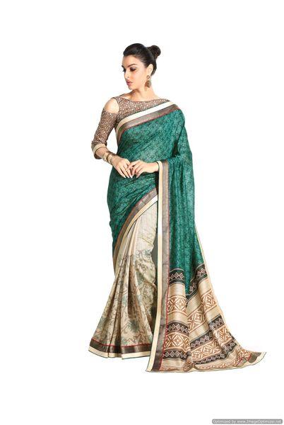 Designer Green Handloom Silk Light Embellished Saree SCMIS06