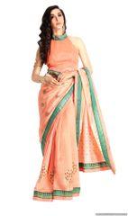 Designer Peach Handloom Silk Light Embellished Saree SCMIS04