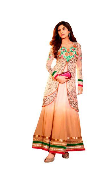 Shilpa Shetty Exclusive Cream Peach Anarkali SC6004