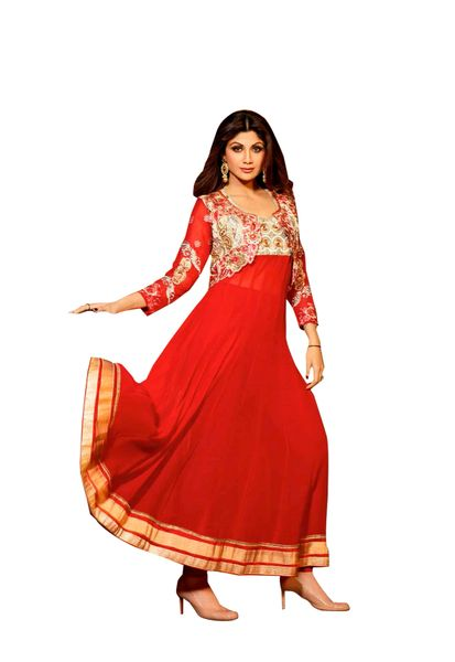 Shilpa Shetty Exclusive Red Anarkali SC6007