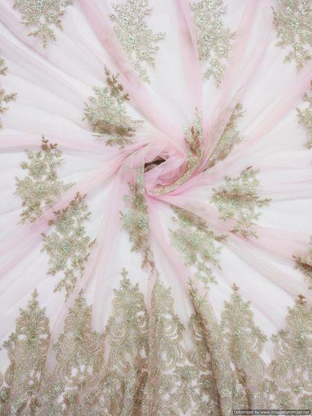 Designer Net pink embroidered Net for Kids Gown Dress Kurti Cut 2.5 Meter ( 259 cms )