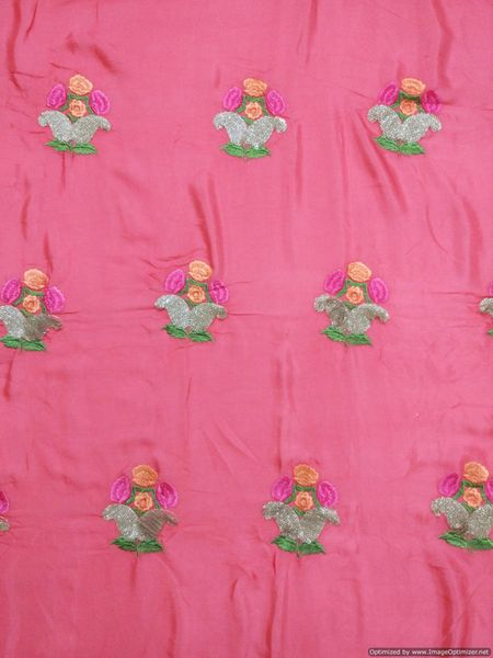 Designer Chinon Carrot Pink Heavy Sequin Resham Motifs Embroidered for Crop Top Cut 1 Meter ( 112 cms )
