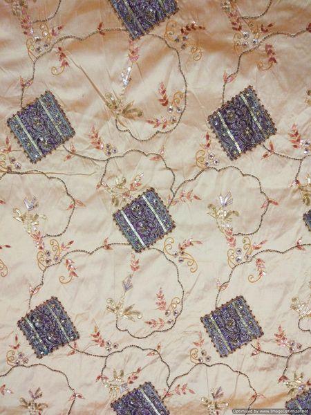 Designer Dupion Silk Beige embroidered for Blouse Crop Top Cut 2.3 ( 229 cms )