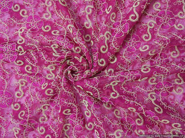 Designer Net Pink Resham Zardozi Jaal Embroidered for Lehenga,Saree,Kurti Cut 4 meter ( 417 cms )