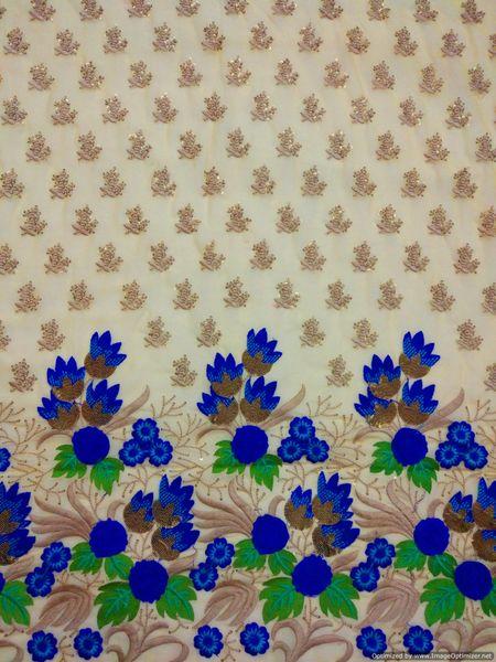 Designer Georgette Beige Green Blue Sequin Thread Embroidered for Half Saree, skirt ,Kurta cut 3.2 Meter ( 320 cms )