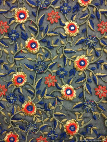 Designer Georgette Black Zari Resham Embroidered Fabric for Blouse Crop top Pre Cut 0.9 Meter (90 Cms)