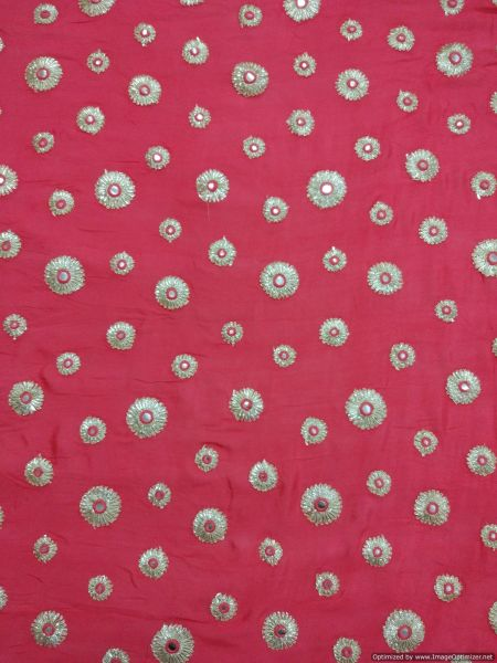 Designer Chinon Carrot Pink Gotta faux Mirror Embroidered Fabric for Blouse, Crop Top , Kurti Pre Cut 2.5 Meters (254 Cms)