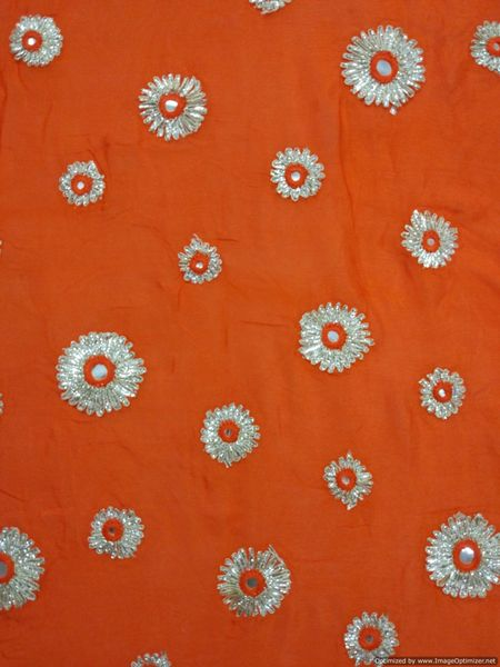 Designer Chinon Orange Gotta faux Mirror Embroidered Fabric for Blouse, Crop Top , Kurti Pre Cut 1.5 Meters (152 Cms)