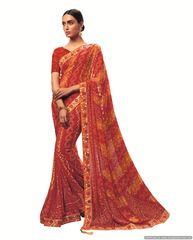 Designer Georgette Red Bandhini Bandhej Saree