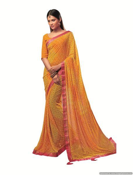 Designer Georgette Yellow Bandhini Bandhej Saree