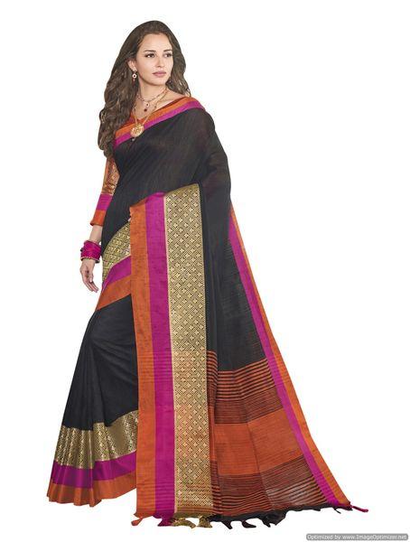 Solid Border Black Cotton Silk Saree