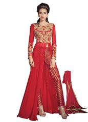 Designer Red Georgette Long Semi stitch Anarkali Partywear Dress material SC4004