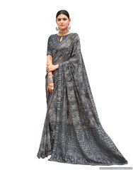 Designer Gray Georgette Printed Embroidered Saree