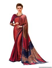Maroon Georgette Printed Saree
