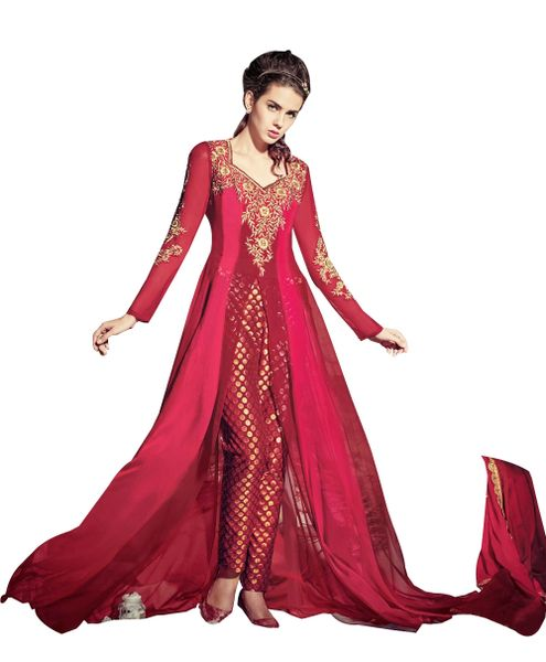 Designer Red and Pink Chifffon Long Semi stitch Anarkali Partywear Dress material SC4006
