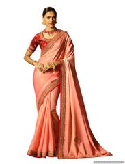 Peach Satin Saree with Embroidered Blouse Fabric