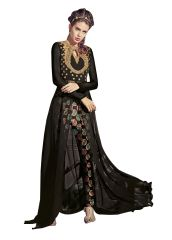 Designer Black Georgette Long Semi Stitch Anarkali Partywear Dress material SC4008