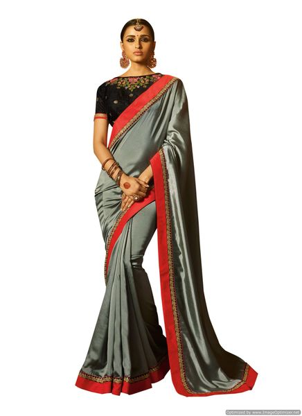 Grey Satin Saree with Embroidered Blouse Fabric