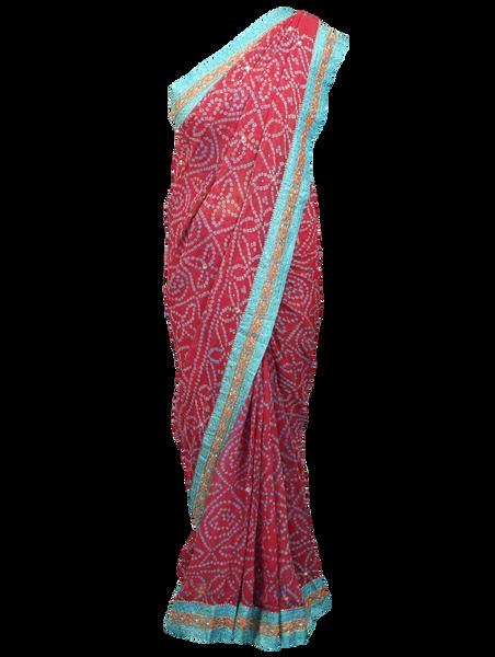 Designer Pink Bandhej Bandhini Brocade Border Work Saree ACC68