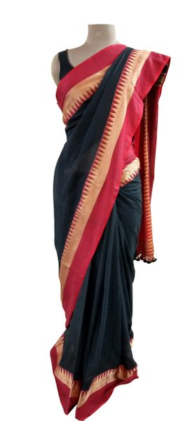 Exclusive Festival Temple Border Black Khadi Cotton Saree Khadi9